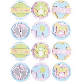 Image of 3D Baby Stickers, D: 35 mm, thickness 5 mm, baby, 1sheet