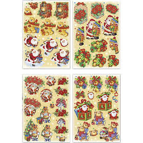 Image of 3D Decoupage Motifs, sheet 21x30 cm, Father Christmas and teddy bears, 4sheets