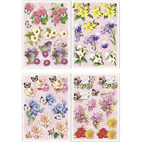 Image of 3D Decoupage Motifs, sheet 21x30 cm, flowers and butterflies, 4sheets