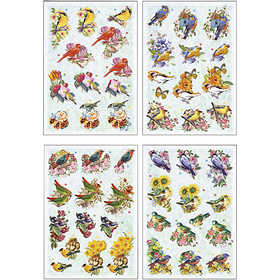 Image of 3D Decoupage Motifs, sheet 21x30 cm, birds, 4sheets