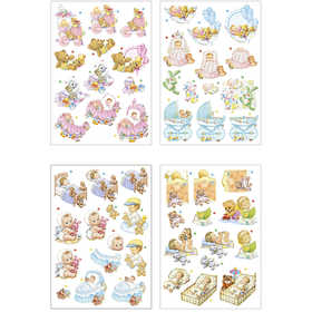 Image of 3D Decoupage Motifs, sheet 21x30 cm, baby , 4sheets