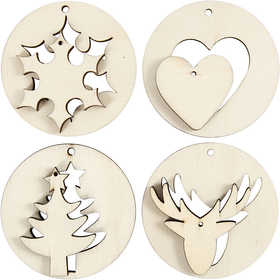 Image of 2-in-1 Hanging Decorations, D: 7 cm, thickness 4 mm, plywood, 8pcs, hole size 3 mm
