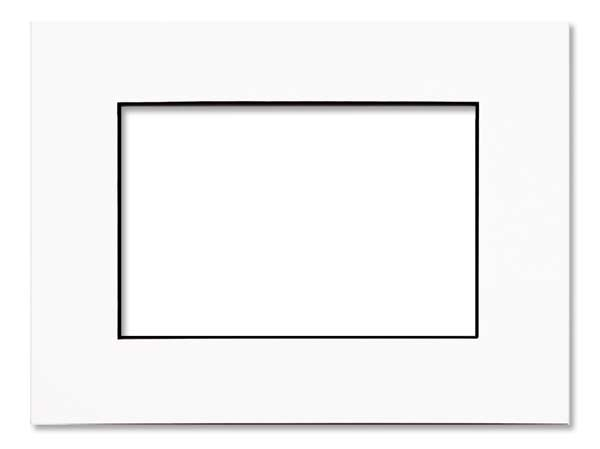 "Image of 16"" x 20' Single Mat, White/Black Core 10 5/8"" x 13 5/8"" Inner Cut (10 Pieces)"